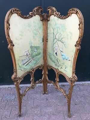 Antique Room Divider Handpainted And Signed A. Buccini - Worldwide Free Shipping
