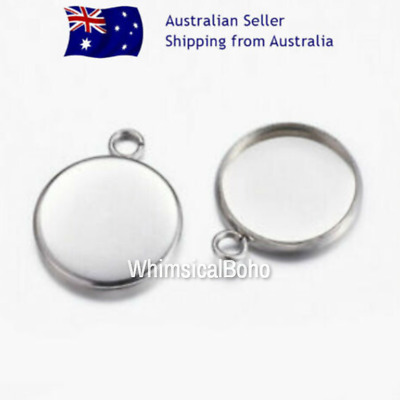 NO FADE 10 Pcs Stainless Steel 12mm Cabochon Bezel Base Settings Findings DIY