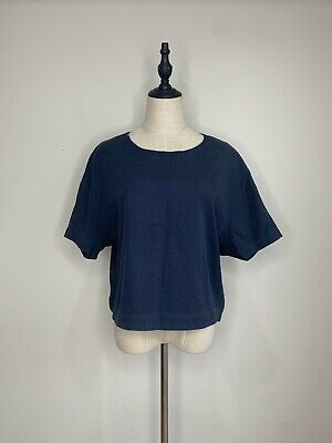 GORMAN • Size M • Navy Blue Cotton Tunic Box Top and Round Neck