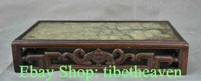 """12.6"""" Collect Old China Huanghuali Wood Jade Palace Bat Lucky Censer Table"""