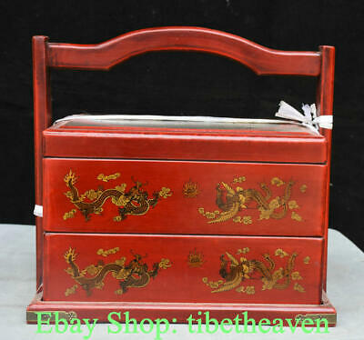 "12.8"" Old Chinese Red lacquerware Wood Palace Dragon Phoenix Portable Food Box"
