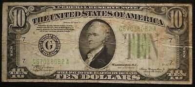 1934 A UNITED STATES Chicago Illinois, Ten Dollar Federal Reserve Note  (676M)