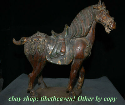 "17.6"" Old Chinese Tang Sancai Pottery Palace War Horse Steed Success Sculpture"