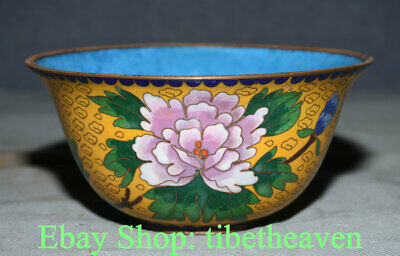 """6.2"""" Old Chinese Copper Cloisonne Dynasty Palace Peony Flower Bowl"""