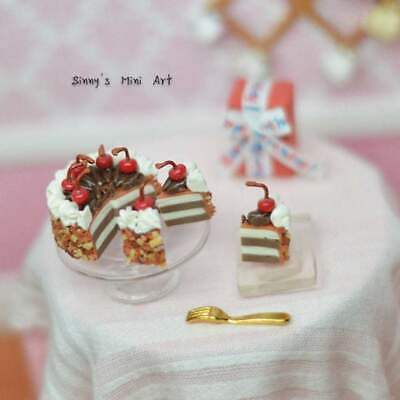 1:12 sliced Chocolate Frosted Cream Cake w//Cherries Dollhouse Miniature
