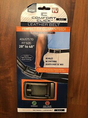 """Men's Comfort Click Black Leather Belt Perfect Fit 28"""" - 48"""" As Seen On TV"""