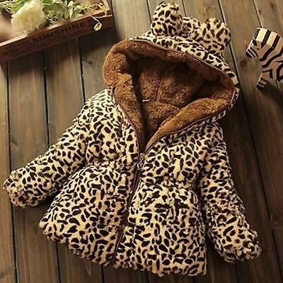 Girls Kids Leopard Thick Winter Warm Quilted Coat Jacket Zip Up Hooded Hoodies