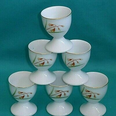6 Vintage White China Egg Cups With Flowers & Gold Rim Easter