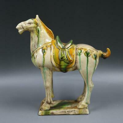 Collect Chinese Tri-coloured Pottery Tang Dynasty Porcelain War Horse Statue