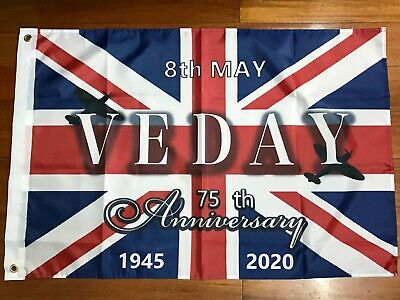 Victory WW2 Remembrance VE Day Celebrations 75 Years Flag Large 5 x 3 FT