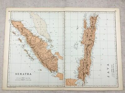 1891 Antique Map of Java and Sumatra Indonesia Malay Peninsula 19th Century