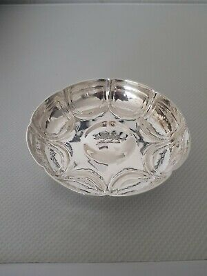 Stunning Antique Solid Silver Arts & Crafts Footed Bowl, Hammer Finished C1900