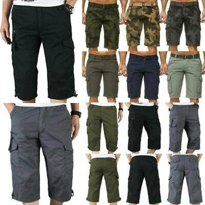 Summer Mens Casual 3/4 Long Length Shorts Elasticated Belted Cargo Combat Pants