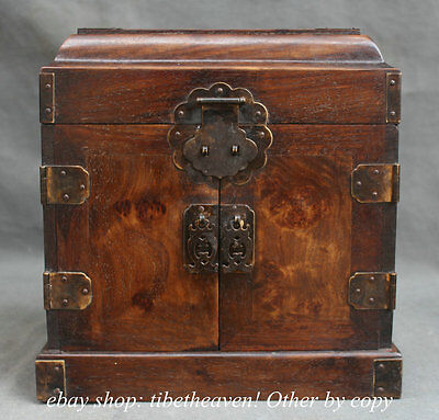 """10""""Old Chinese Huanghuali Wood Dynasty Drawer Storage Jewelry Box Cabinet Chest"""