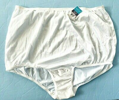 NWT Vanity Fair Perfectly Yours Sissy Soft White Nylon Panty 10 Panties 3XL