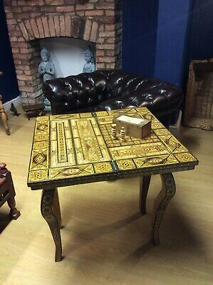 Antique Syrian Inlaid card, chess, backgammon, games table C1910 For Restoration