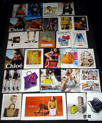 Women's LUXURY HANDBAG BRANDS Magazine Ads + Clippings Set - Over 110 PAGES!