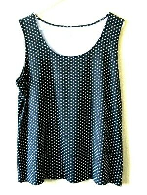 Charter Club Womens 1X Black with White Polka Dots Blouse Top Sleeveless