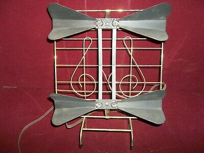 Vintage Bowtie w/ Musical Notes Television Antenna Rabbit Ears Mid Century Retro