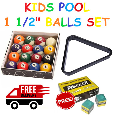"KIDS SPOTS & STRIPES 1 1/2"" INCH (38mm) POOL BALLS SET WITH FREE CHALK"