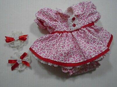 My Child Handmade Red And White Floral Doll Dress, Panties & Hair Accessories