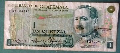 GUATEMALA 1 QUETZAL  NOTE ISSUED 05.01. 1978 , P 59 c