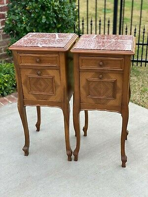 Antique French PAIR Side Cabinets Nightstands End Tables Walnut Marble Tops