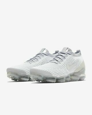 Nike Air VaporMax Flyknit 3 Shoes White Platinum Silver AJ6900-102 Men's NEW