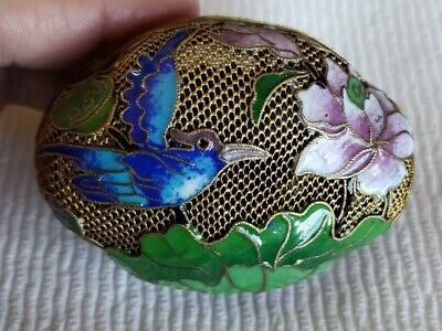 Antique Chinese Export Mesh Cloisonne Basket Box Bird Lily Lotus Flower Signed