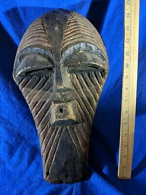 Large Songye Mask with Deep Carved Details — Authentic Handmade Wood African Art