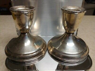 Vintage Sterling Silver DUCHIN CREATION Candlestick Candle Holders Weighted 14.2