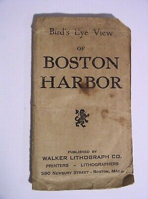 Old Boston Harbor Map Walker Lithograph Co