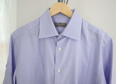 Canali Mens Long Sleeve Dress Shirt Size 16 - 41 Lavender Made in Italy