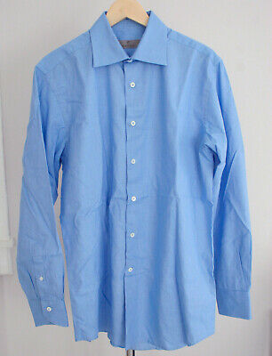 Canali Mens Long Sleeve Dress Shirt Size 16 - 41 Blue Made in Italy