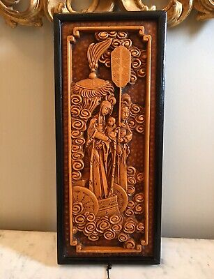 Antique Japanese Hand Carved Wood Wall Panel Asian Figures Oriental Vintage
