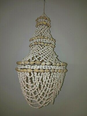 40cm white sea shell mango chandelier light fitting. Collector home decor