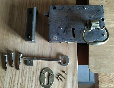 Antique Georgian brass and steel door lock