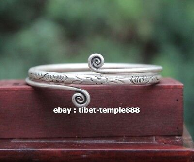 6.5 CM Chinese Miao Silver Handwork auspicious Double Dragon hand chain bracelet
