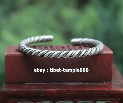 China Miao Silver Handwork auspicious Distorted compiled hand chain bracelet