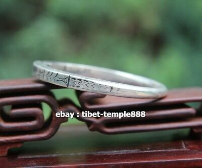 5.5 CM Chinese Miao Silver Handwork wire inlay Double Dragon hand chain bracelet