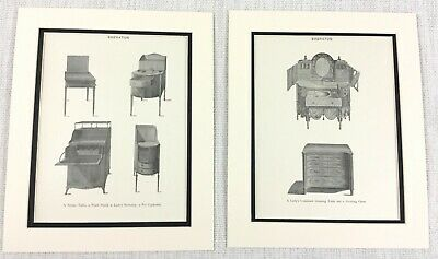 1899 Antique Set of Prints Dressing Table Wash Stand Sheraton Bedroom Furniture