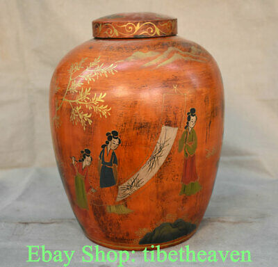 """12.4"""" Old Chinese lacquerware Wood Carving Palace Beautiful Woman Belle Tank Jar"""