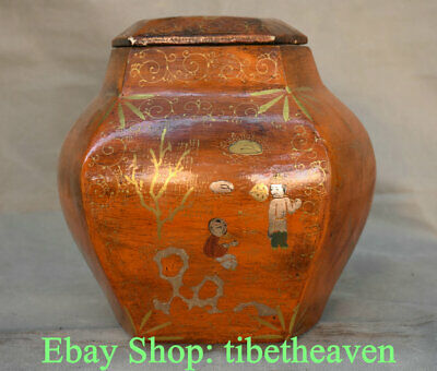 """8.4"""" Old Chinese lacquerware Wood Carving Palace official Tongzi Belle Tank Jar"""