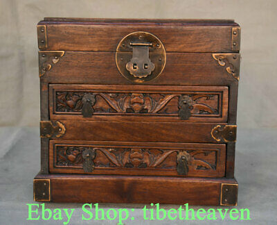 """10"""" Old China Huanghuali Wood Carving Dynasty Palace Bat Drawer Jewelry box"""