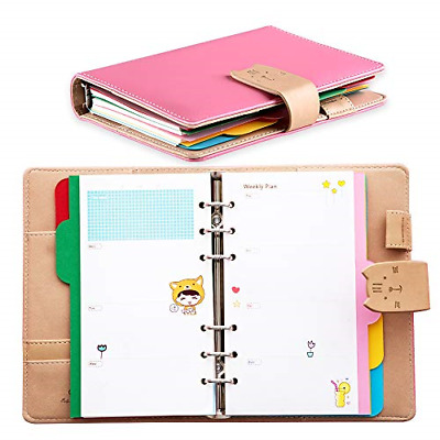 Undated Weekly Planner 2020 with Rings,Leather Cat Diary Organizer for Time
