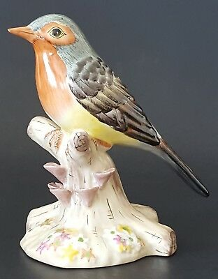 "Porcelain Robin Bird Statue Gray Rust Orange Yellow 5"" Figurine Hand Painted"