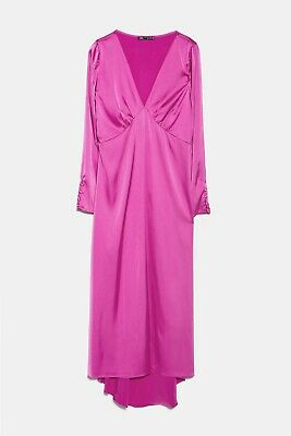 ZARA AW18//19 Long Fuchsia Pink Silky Satin Dress Gown Buttons S M L XL BNWT