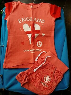 Girls Shorts And T Shirt Set England UEFA 2016 Age 4 - 6 Years