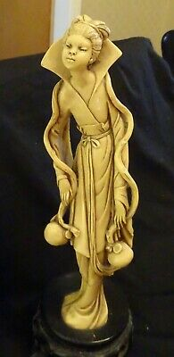 Vintage  Oriental Resin Figure of a Female Carrying Water/Wine  a/f