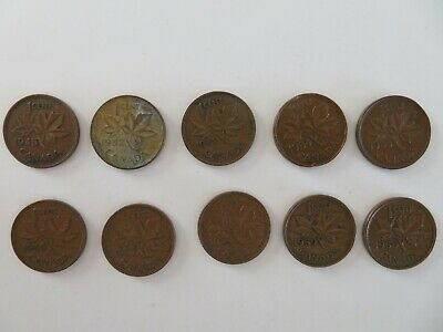 10 Canada Small Cent Penny 1945 1952 1953 1954 1955 1956 1957 1958 1959 1960